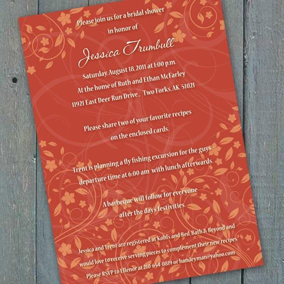 bridal shower invitations, pumpkin bridal shower invitations, recipe cards, tangerine wedding invitations, pumpkin wedding shower