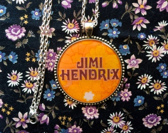 Jimi Hendrix Necklace or Keychain/ 60s 70s Pendant/ Hippie, Music Festival/ Psychedelic Trippy Jewelry/ Gift