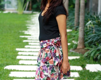 Floral Skirt / Flowy Skirt / Purple Mini Skirt with Sash / Spring Fashion Skirt / Ready to Ship