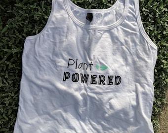"Womens ""plant powered"" tank - white"