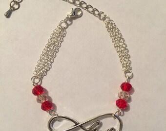 Infinity Love beaded multi chain bracelet