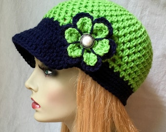 READY SHIP Size M-L Seattle Seahawks Lime Green, Blue Womens Crochet Hat, Sports Team, Christmas gifts, Birthdays Gifts for Her JE660B2