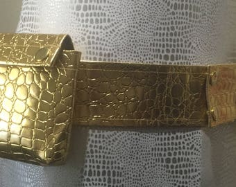 Brilliant Gold Croc Vinyl 2 pocket Utility Belt with D ring loop - adjustable 35-38""