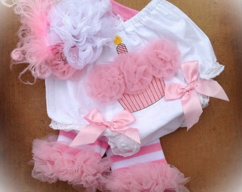 1st Birthday Girl Set - Cake Smash Set -  Birthday Bloomers - Bloomers, Leg Warmers and Bow - 1st Birthday Pictures