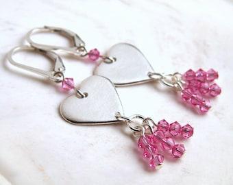 Pink Heart Earrings Valentine Jewelry Sterling Silver Heart Pink Earrings Crystal Dangles Leverback Handmade Heart Charm Genuine Swarovski