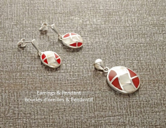 MOP Set - Oval Mosaic - Sterling Silver Earrings and Pendant,  White Mother of Pearl, Red, Wave Pattern, Inlay Shell Jewelry. Boho Jewelry