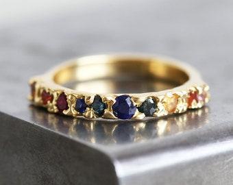 18k Gold Ring, Raw Wedding Band, Raw Wedding Ring, Ombre Ring, Sapphire Ring, Sapphire Wedding Band, Unique Gold Ring, Unique Wedding Band