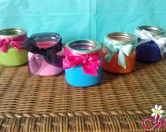 Painted Glass Mason Jar (Half-Pint) with Ribbon Bow (Your Choice of Color)