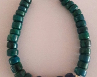 Bracelet Natural stone Chrysocolla, and sterling silver 950