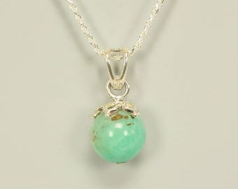 Sterling Silver Natural Colombian Emerald Bead Pendant