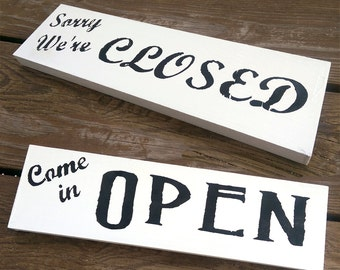 Open Closed Sign | Sign for Business | Sorry We're Closed | Open Come in | Reversible Sign | Choose Colors