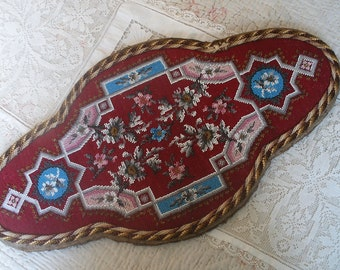 Antique Victorian beaded tray panel, beadwork & wool embroidery