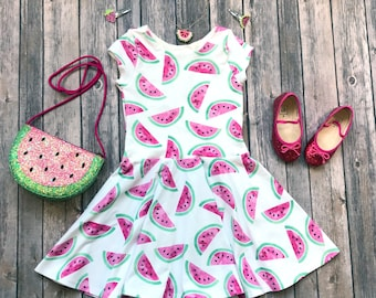 Watermelon Dress - Fruit Dress - Toddler Dress - Girls Dress - Twirl Dress - Twirly Dress - Baby Dress - Summer Dress - Play Dress