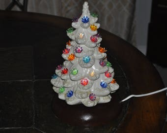 Small White Ceramic Christmas Tree With Wood Base