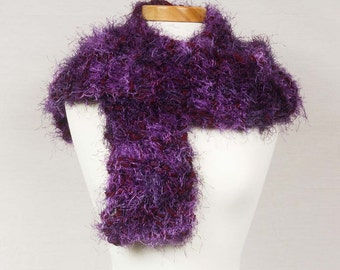 Purple scarf Knitted Furry Soft Comfortable Friendly Extra long Deep rich purples reflect light Glamous Sumptuous Statement