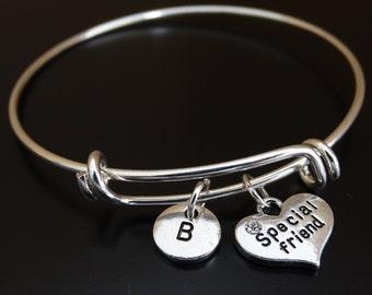 Special Friend Bangle Bracelet, Adjustable Expandable Bangle Bracelet, Friend Charm Bracelet, Friend charms, BFF Bracelet, BFF Jewelry