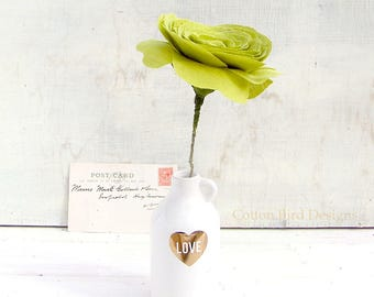 4th Anniversary Flower for Wife Long Stem Everlasting Linen Flowers by Cotton Bird Designs
