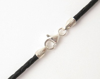 """2mm Black Braided Bolo Leather Cord Necklace Silver Clasp 14"""" inches - 36"""" inches Silver Clasp, You choose length. LCB0200BLKS"""