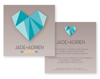 Wedding announcement - Invitation - Origami inspiration - Geometric - PDF printable by yourself