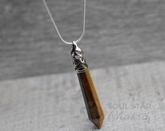 Tigers Eye Hex Point Pendant With Silver Plated Chain