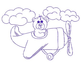 Flying Teddy Bear Redwork - Machine Embroidery Design
