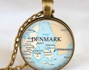 Denmark map necklace, Denmark  map pendant, Denmark  map jewelry , map pendant jewelry  with gift bag