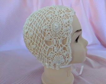 Evie Vintage Crochet Baptism Christening Ivory Baby Bonnet Hat 3-6 Months