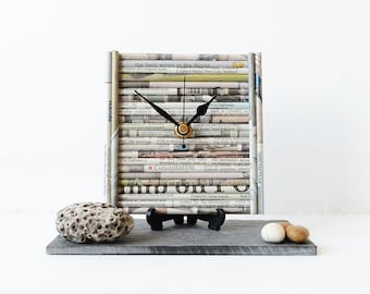 Newspaper Desk Clock - Paper Clock - Upcycled Recycled Newspaper - Paper Anniversary - Square Desk Clock - Paper Art Quilled Clock