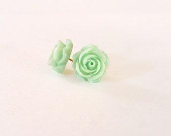 Vintage rose stud earrings-mint green (mint green flower earrings, rose buds,resin, post, flower earrings, rosa)