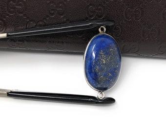 Lapis Lazuli, Gemstone Connector, Lapis Lazuli Connector, Bezel Connector, Jewelry Supplies, Jewelry Making, Jewelry Findings, 33.25x17.5mm