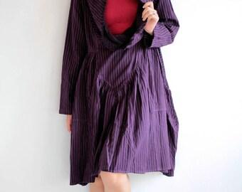 Stripe knee length Dress (1501) Cotton/wool