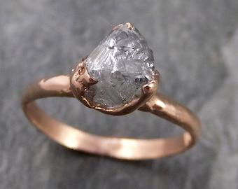 natural uncut octahedral salt and pepper Diamond Solitaire Engagement 14k Rose Gold Wedding Ring byAngeline 1094