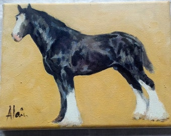 Oil on Canvas French Horse original painting Cart Horse Working Farm horse Portrait