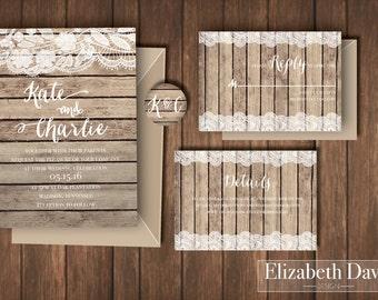 Rustic barn wedding invitation printable set | antique wood and lace | Invite + RSVP insert + Details + envelope sticker