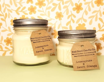 Lemongrass and Sweet Orange Soywax Candle Essential Oil Mason Jar Soy Wax Candle 8 oz 4 oz