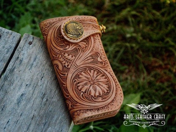 Long wallet leather biker carving