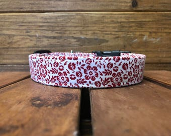 Mary's Collar - Red Flower Dog Collar