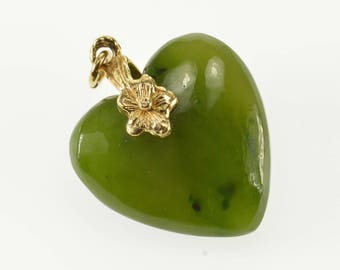 14k Neprhite Jade Carved Heart Pendant Gold