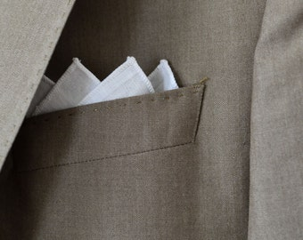 Men's Pocket Square in White Linen - handkerchief wedding groomsmen suit washable