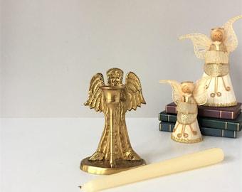 Angel Candleholder, Vintage Brass Candle Holder, Praying Angel, Brass Taper Holder, Christmas Mantel Decor, Altar Candle