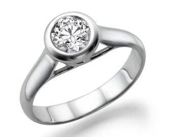 Platinum Diamond Ring Vintage Moissanite Engagement Ring,  Solitaire Promise Ring, 0.50 CT Forever Brilliant Moissanite