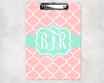 Monogrammed Quatrefoil Clipboard in Pink and Aqua | Back to School Gift | Teacher Gift