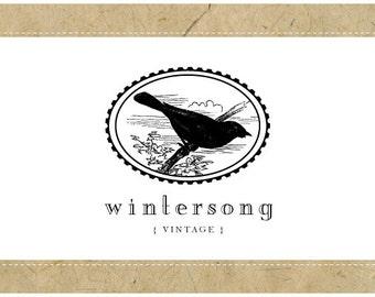 Custom Logo Design - PreDesigned Logo - PreMade Logo - Vector Logo - OOAK Logo - WINTERSONG Logo Design - Bird Logo - Vintage Logo Design