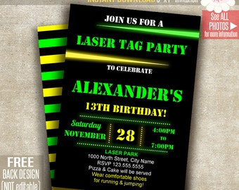 Laser tag party etsy laser tag invitation laser tag party invite laser birthday party printable self editable pdf file a148 stopboris Choice Image