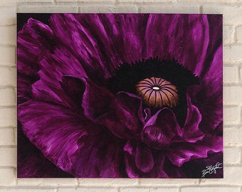 "ORIGINAL acrylic painting, Poppy, flower, canvas 24"" x 30"" (60.96cm x 76.2 cm)"