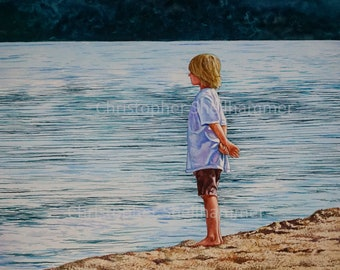 Classic Landscape Watercolor Painting 14x19 in. Child/Lad/boy by the Lake by Award Winning Artist Christopher Shellhammer.