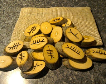 Large Chunky Celtic druid Ogham plus bag, handmade pyrographed oval Ash Ogham unique