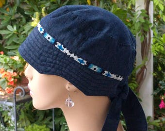 Women's Chemo Hat Cancer Caps Chemo Cap Cotton Denim Hat Adjustable and Reversible MEDIUM
