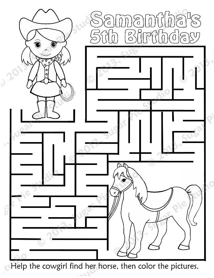 Personalizado para niños imprimible vaquera caballo cumpleaños