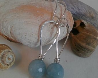 Faceted Aquamarine and Hammer-Textured Sterling Silver Earrings